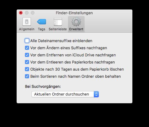 Neues im Finder von macOS Sierra