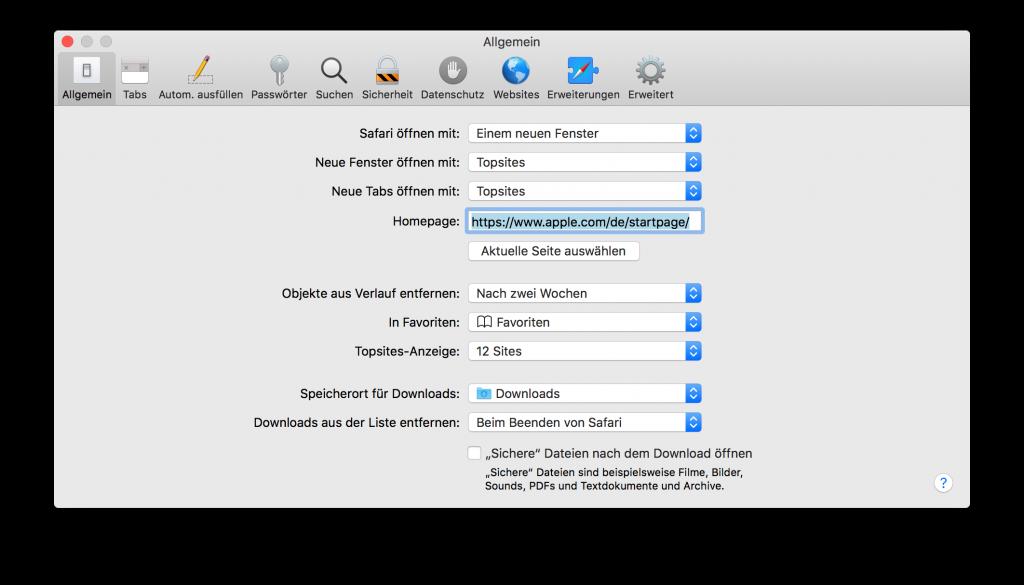 Safari Einstellungen Sichere Dateien nach dem Laden öffnen deaktivieren